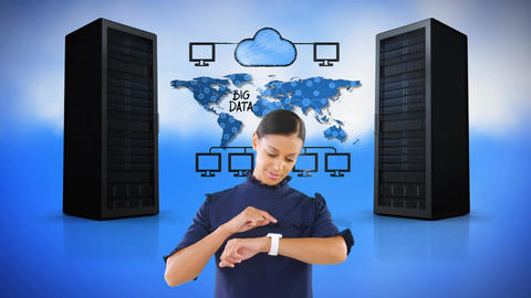 Digital composite of a technician and data cloud network transfer Animation