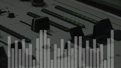 Digital composite of a DJ mixer and frequency bars Animation