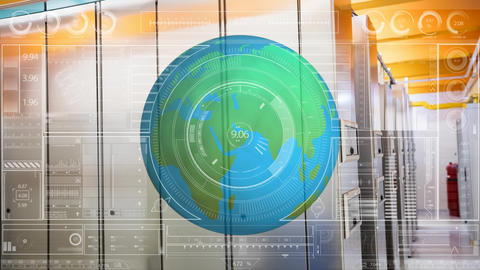 Earth globe rotating against server room background with data Animation