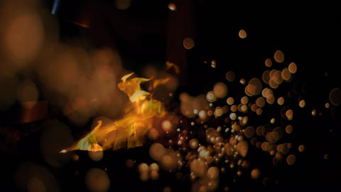 Composition of fire with yellow bubble Animation
