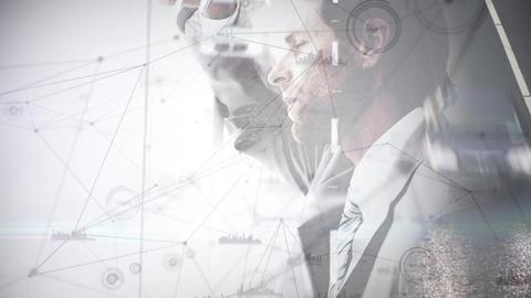 Digital animation of a man thinking expressway background Animation