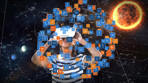 Woman using a virtual reality headset and surrounded by icons connected against a solar system backg Animation