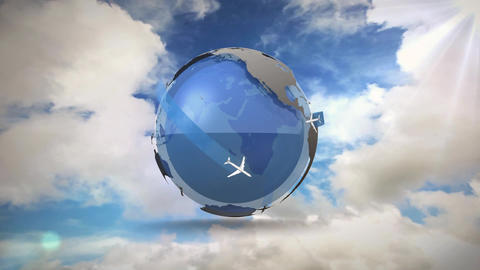 Airplanes travelling across the globe Animation