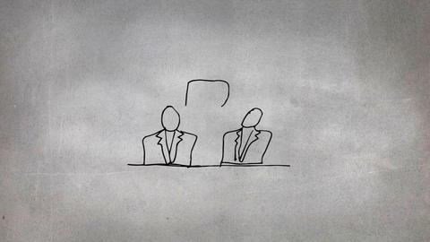 Sketch of two people talking Animation