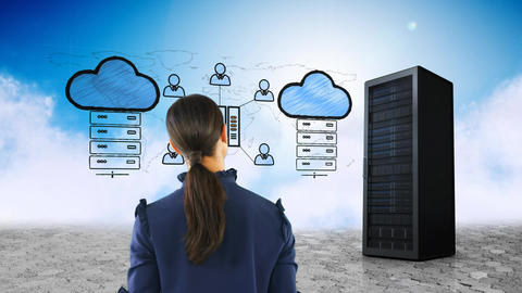 Woman looking at cloud storage Animation