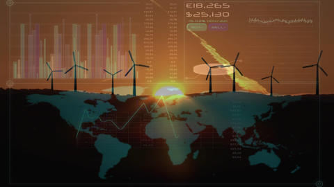 Digital composite of a world using sustainable energy source Animation