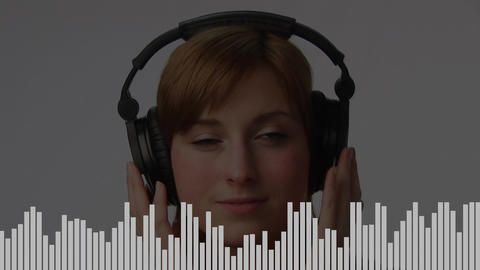 Digital composite of a woman listening to her favorite tune Animation