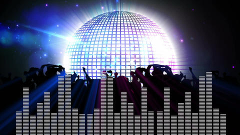 Digital composite of a disco ball, dancing people, and random digital bars Animation