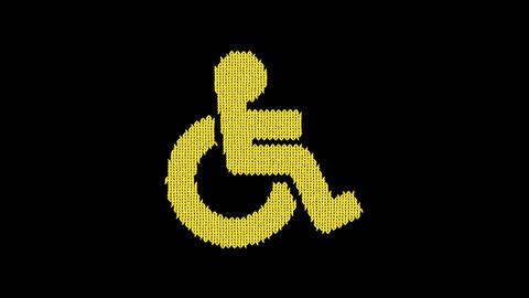 Symbol wheelchair is knitted from a woolen thread. Knit like a sweater Animation