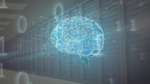 Digital composite of the human brain and binary codes inside a server room Animation
