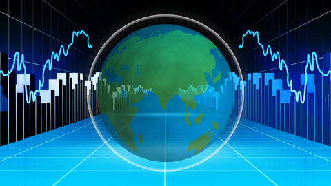 Globe with graphs and charts Animation
