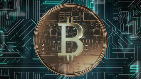 Bitcoin, circuit board, and binary codes Animation