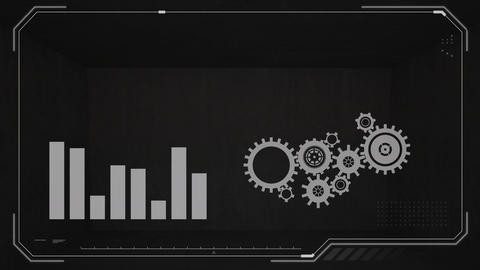 Bar graph and cog wheels Animation