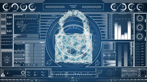 Digital composite of a cyber lock Animation