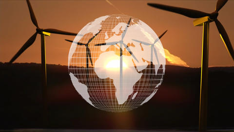 Digital composite of Earth and windmills Animation
