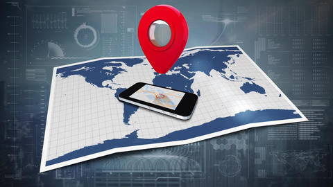 Cellular phone and map Animation