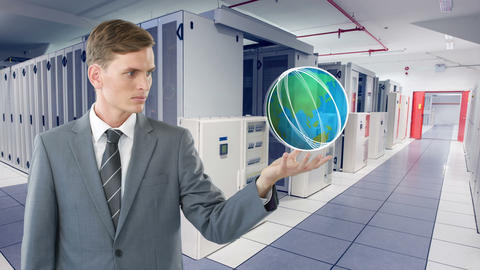 Digital composite of a man in a server room 4k Animation
