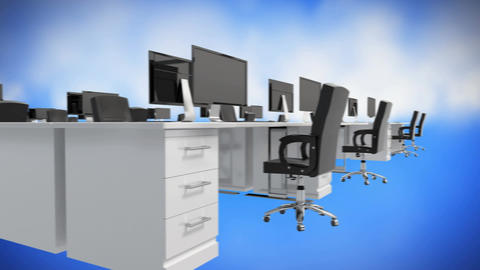 Officer desk workstation Animation