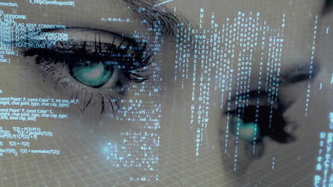 Data scrolling and moving against a background showing a woman blinking Animation
