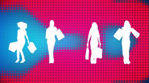 Female silhouettes shopping Animation