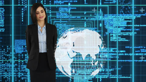 adult female in business clothes touching the globe Animation