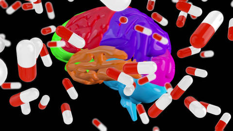 Digital composite of a brain and medicinal capsules Animation