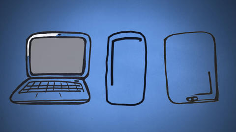 Laptop, mobile phone and tablet drawn Animation