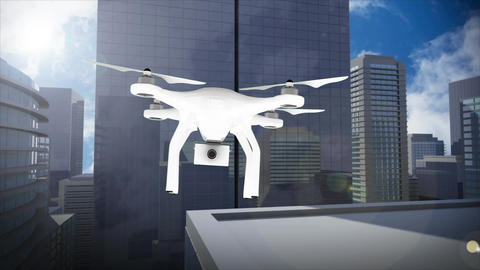 Animation of a drone flying against cityscape view Animation