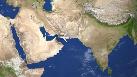 Plane Flies From North America to Dubai Live Action