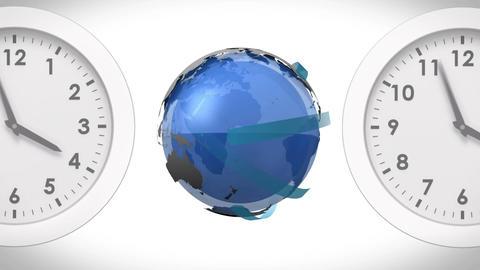 Globe between clocks Animation
