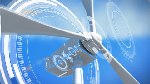Working windmill in blue background Animation