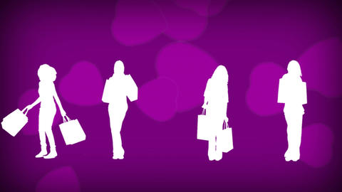 Female silhouettes shopping Animation