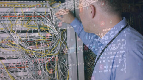 Digital composite of a man doing maintenance in a server room Animation