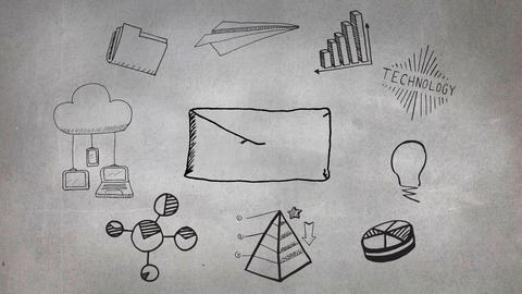 Envelope surrounded by drawings of technology and charts Animation