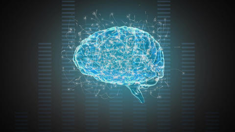 Digital composite of a brain and digital bars Animation
