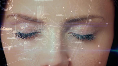 Digital composite of a woman eye looking at the blockchain technology Animation