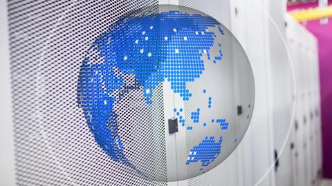 Digital earth globe rotating against a locker room background Animation
