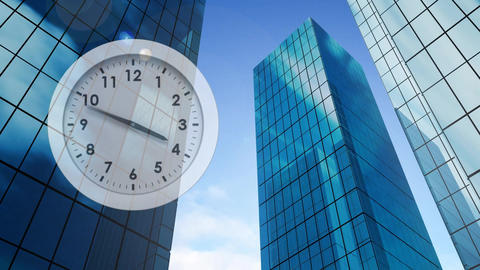 Clock and buildings Animation