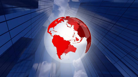 Rotating globe and buildings Animation