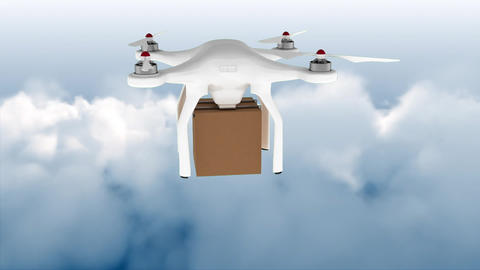 Drone flying in the sky carrying a box Animation