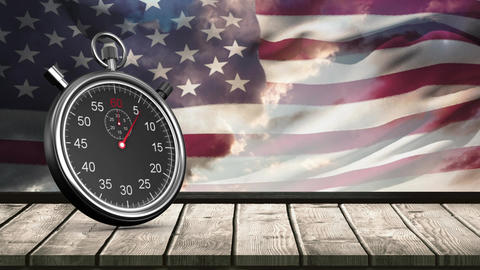 Stopwatch and American flag Animation