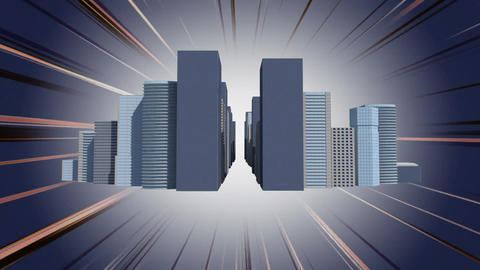 Moving towards rows of buildings Animation