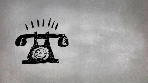 Rotary dial telephone drawing Animation