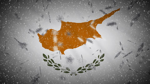Cyprus flag falling snow loopable, New Year and Christmas background loop Animation