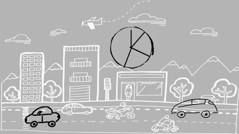 Pie chart and cars Animation