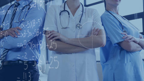 Medical practitioners and mathematical equations 4k Animation