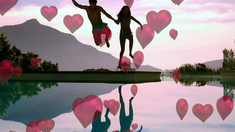 Couple jumping on the water Animation
