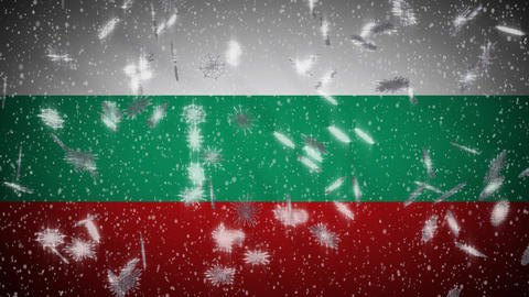 Bulgaria flag falling snow loopable, New Year and Christmas background, loop Animation