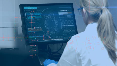Scientist looking at a screen 4k Animation