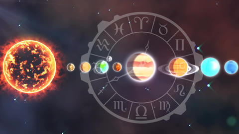 Solar system and the zodiac Animation